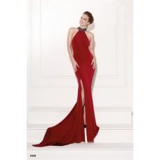 Halter High Slit Sheer Back Red Jersey Tulle Beaded  Evening Occasion Dress