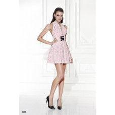 Halter Pink Satin Black Lace Mini Party Prom Dress With Black Bows Buttons