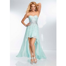 High Low Hem Strapless Sweetheart Light Baby Blue Chiffon Beaded Prom Dress