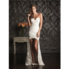 High Low Hem Sweetheart Lace Destination Beach Garden Wedding Dress