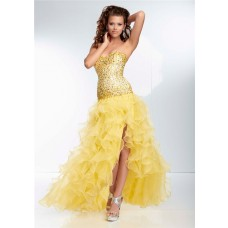 High Low Hem Sweetheart Neckline Lemon Yellow Organza Ruffle Beaded Prom Dress