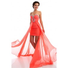 High Low Strapless Coral Chiffon Beaded Homecoming Party Prom Dress