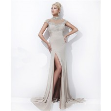 High Neck Cap Sleeve Backless Long Beige Chiffon Tulle Beaded Prom Dress Open Back