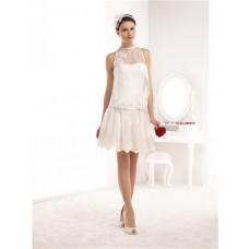 High Neck Sleeveless Short Mini Lace Chiffon Casual Wedding Dress With Belt