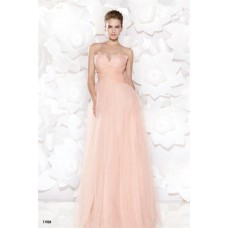 Illusion Neckline Empire Waist Long Blush Pink Tulle Lace Prom Dress With Bow