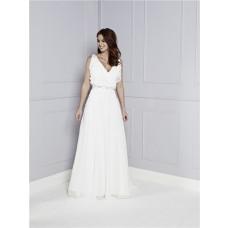 Informal A Line V Neck White Chiffon Ruffle Casual Beach Wedding Dress Beaded Belt