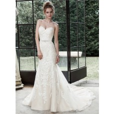 Lovely Mermaid Sweetheart Tulle Lace Wedding Dress With Crystals Sash