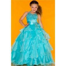 Lovely Princess Ball Halter Aqua Blue Organza Ruffle Girl Pageant Party Prom Dress
