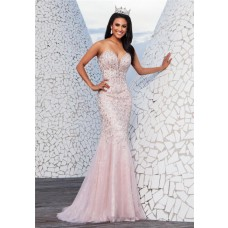 Luxury Mermaid Plunging Sweetheart Neckline Light Pink Tulle Beaded Long Prom Dress