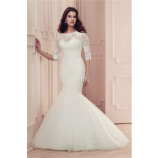 Mermaid 3 4 Sleeve Vintage Lace Tulle Wedding Dress With Buttons
