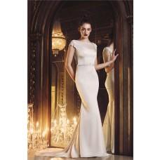 Mermaid Bateau Cap Sleeve Open Back Silk Satin Wedding Dress With Sash