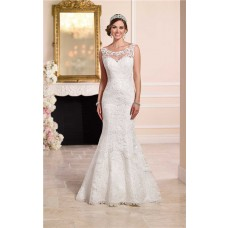 Mermaid Bateau Illusion Neckline Low V Back Lace Wedding Dress Chapel Train