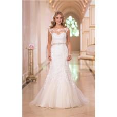 Mermaid Bateau Illusion Neckline Open Back Lace Wedding Dress With Sash