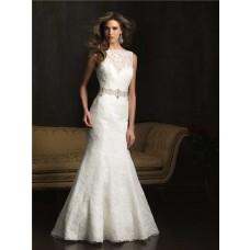 Mermaid Bateau Neck V Back Vintage Lace Wedding Dress With Crystal Belt