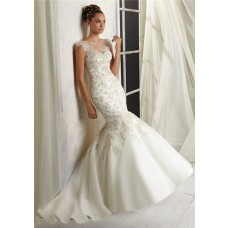Mermaid Bateau Sheer Illusion Neckline See Through Tulle Beaded Wedding Dress Open Back