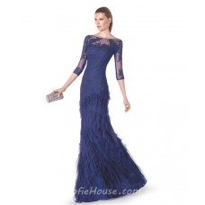 Mermaid Boat Neck Navy Blue Lace Tulle Ruffle Long Evening Dress 3 4 Length Sleeves