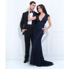 Mermaid Cap Sleeve Deep V Neck Long Navy Blue Lace Beaded Evening Prom Dress Keyhole Back