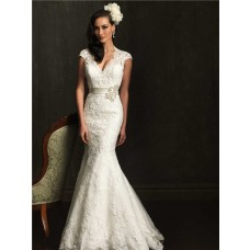 Mermaid Cap Sleeve Scalloped Neck Open Back Lace Wedding Dress With Sash