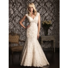 Mermaid Cap Sleeve V Neck Champagne Lace Wedding Dress Empire Waist