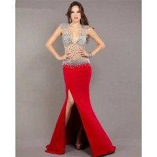 Mermaid Deep V Neck Open Back Red Chiffon Sheer Tulle Beaded Prom Dress