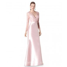 Mermaid Deep V Neck Pearl Pink Taffeta Lace Long Sleeve Evening Dress