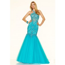 Mermaid Halter Backless See Through Turquoise Tulle Lace Beaded Prom Dress