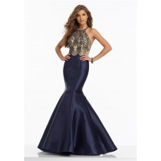 Mermaid Halter Open Back Navy Satin Beaded Prom Dress