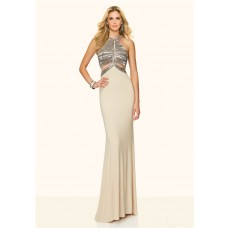 Mermaid Halter Side Cut Out Open Back Champagne Beaded Prom Dress