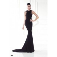 Mermaid High Neck Black Satin Lace Special Occasion Evening Dress With Train