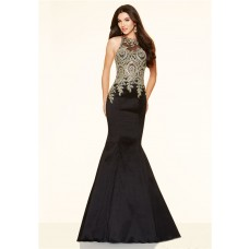 Mermaid High Neck Black Taffeta Gold Lace Applique Prom Dress