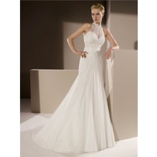 Mermaid High Neck Draped Tulle Lace Beaded Wedding Dress With Collar