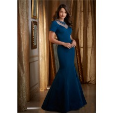Mermaid High Neck See Through Back Teal Satin Beaded Evening Dress With Sleeves
