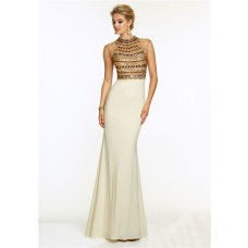 Mermaid High Neck Sheer Back Long White Jersey Gold Beaded Prom Dress