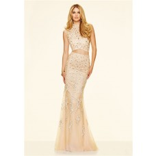 Mermaid High Neck Two Piece Long Champagne Lace Beaded Prom Dress With Collar
