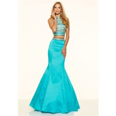 Mermaid High Neck Two Piece Long Turquoise Taffeta Beaded Prom Dress