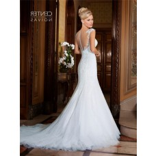 Mermaid Illusion Neckline Cap Sleeve Tulle Lace Beaded Wedding Dress