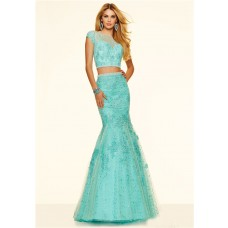 Mermaid Illusion Neckline Cap Sleeve Two Piece Mint Green Tulle Lace Prom Dress