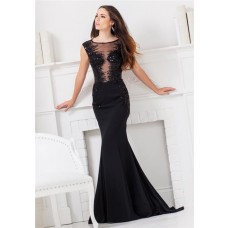 Mermaid Illusion Neckline Open Back Black Chiffon Beaded Sequin Long Evening Prom Dress