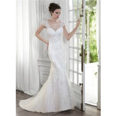 Mermaid Illusion Neckline Open Back Cap Sleeve Lace Wedding Dress