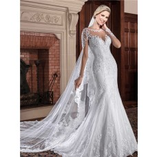 Mermaid Illusion Neckline See Through Back Lace Wedding Dress With Sleeves
