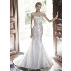 Mermaid Illusion Neckline Sheer Back Tulle Satin Beaded Wedding Dress