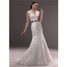 Mermaid Illusion V Neckline Sheer Back Lace Wedding Dress With Crystal Belt