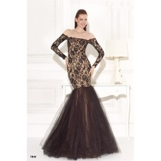 Mermaid Off The Shoulder Black Lace Tulle Long Sleeve Prom Dress