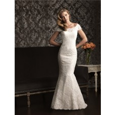 Mermaid Off The Shoulder Cap Sleeve Lace Wedding Dress With Low Back