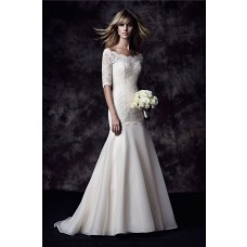 Mermaid Off The Shoulder Ivory Organza Lace Wedding Dress With Sleeves