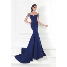 Mermaid Off The Shoulder Sweetheart Navy Blue Satin Evening Prom Dress With Straps