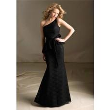 Mermaid One Shoulder Long Black Lace Peplum Wedding Party Bridesmaid Dress With Sash