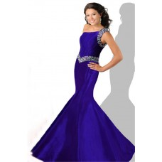 Mermaid One Shoulder Purple Taffeta Beaded Teen Prom Dress