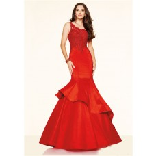 Mermaid One Shoulder Red Lace Taffeta Ruffle Evening Prom Dress