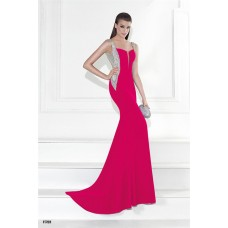 Mermaid Plunging Neckline Open Back Hot Pink Satin Beaded Prom Dress With Straps